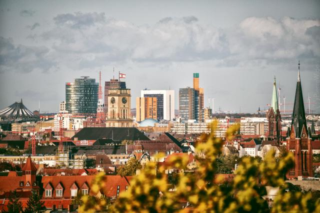 Blick vom Wetterturm Dahlem zum Potsdamer Platz