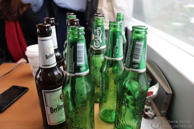 Bier im ICE auf der Hinfahrt