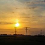 Sonnenuntergang aus Auto geknipst