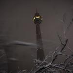 Gruseliger Fernsehturm hinter Schneeästen