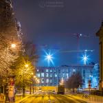 Am Lustgarten bei Nacht mit Schneematsch