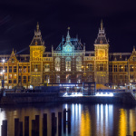 Amsterdam Centraal Station at night