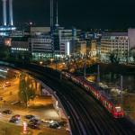 Jannowitzbrücke am Abend von oben