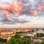 Prag Sonnenuntergang mit Moldaublick