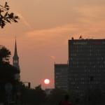 Hamburg von oben - Sonnenuntergang