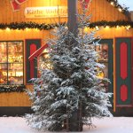 Weihnachtsbäume mit Schnee bedeckt