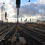 Gleislandschaft vor dem Frankfurter Hauptbahnhof