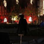 Rabenfigur mit Marienkirche im Hintergrund